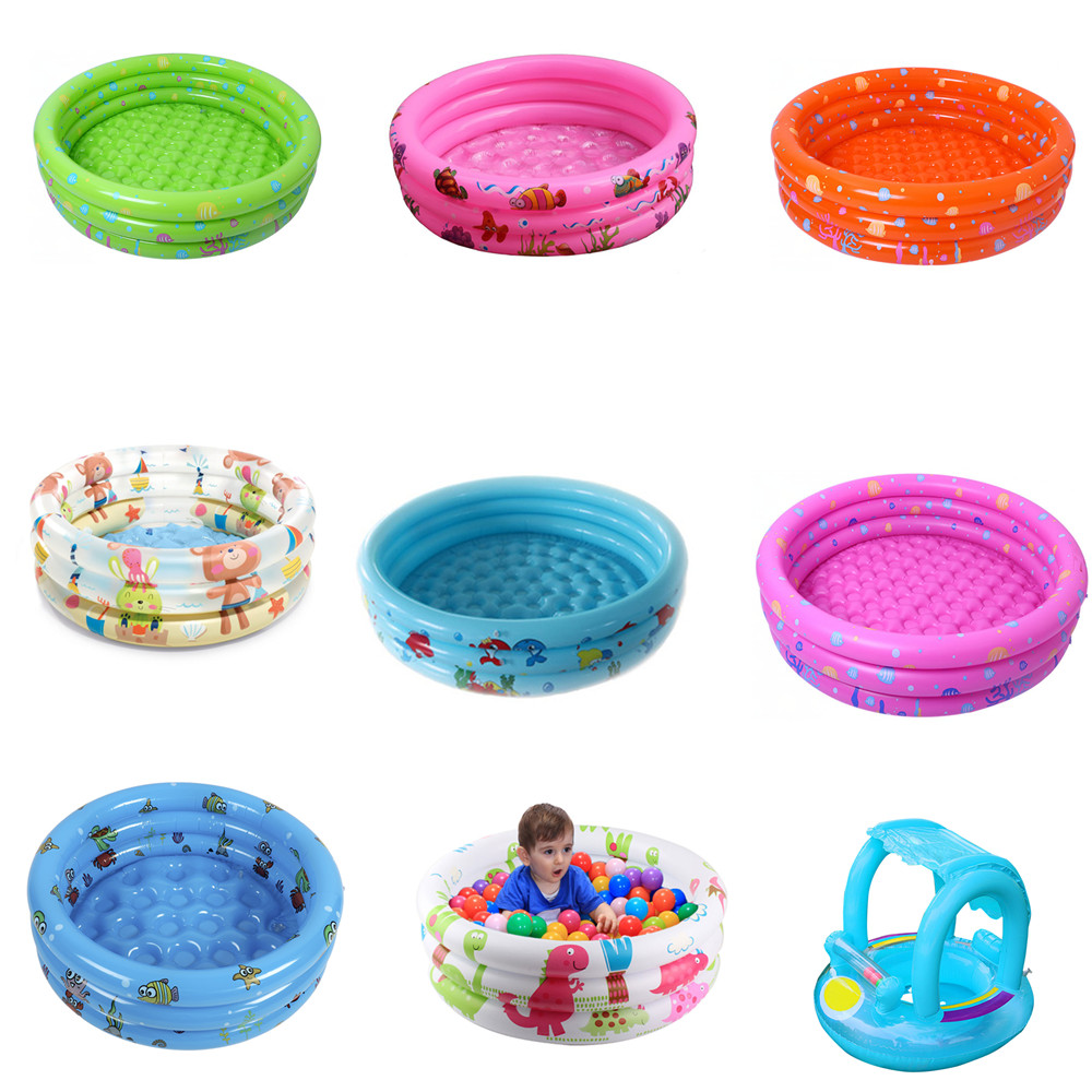 Hot Summer Baby Inflatable Round Swimming Pool Rings Inflatable Bath Tub Swim Float With Sunshade Seat Raft Water Fun Pool Toys