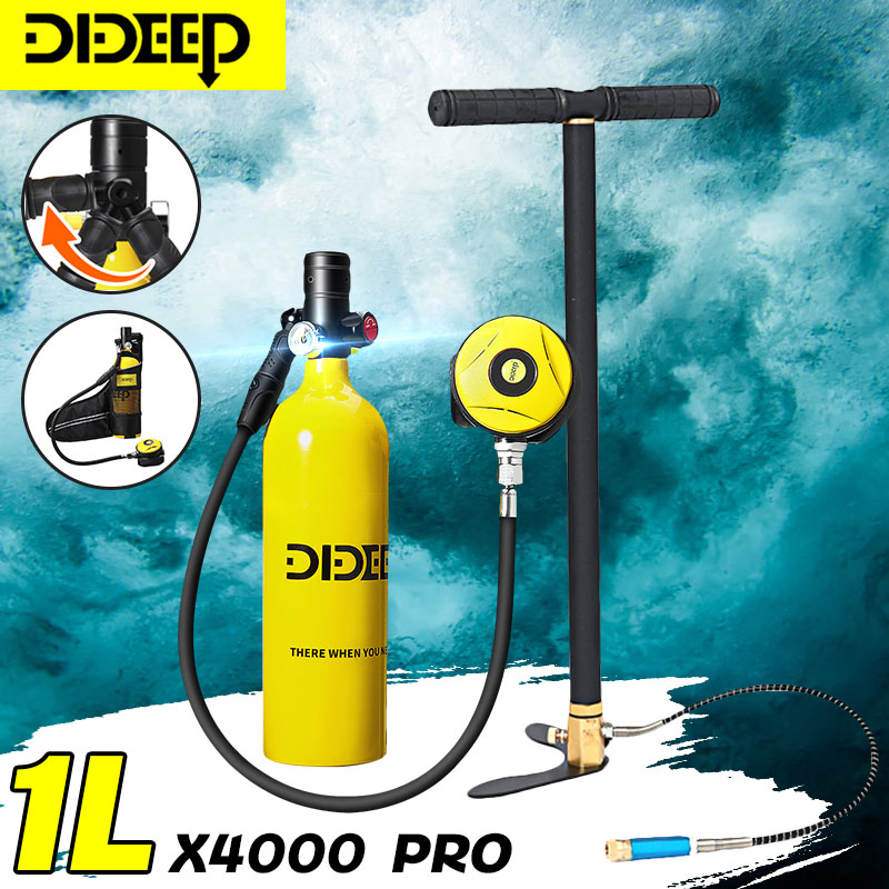 DIDEEP 1L Mini Scuba Diving Cylinder Oxygen Tank Set Dive Respirator Air Tank Hand Pump For Snorkeling Breath Diving Equipment