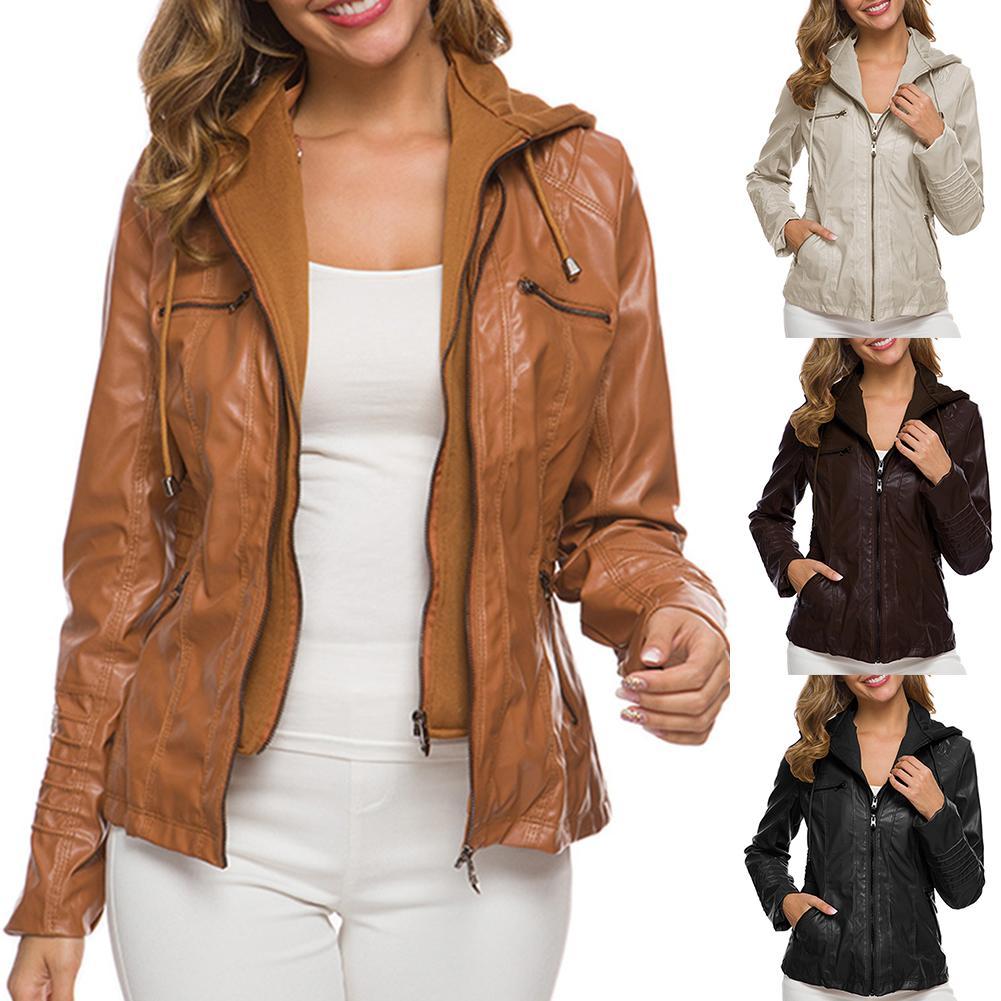 Женская куртка из искусственной кожи с карманами размера плюс, однотонная тонкая верхняя одежда на молнии