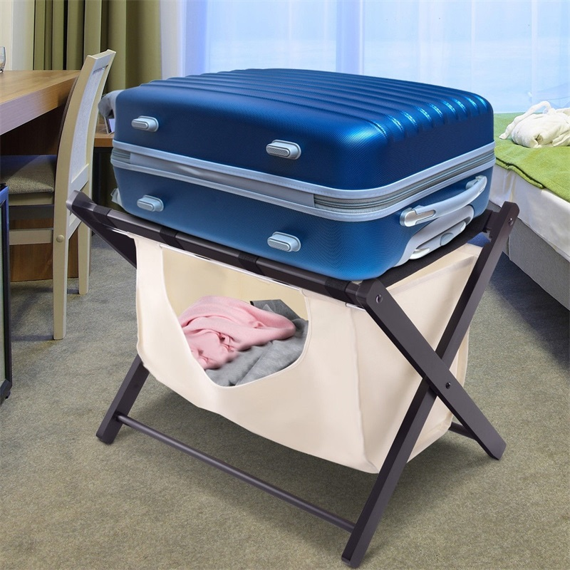 Home Folding Wood Luggage Rack Red-brown 110lbs Capacity Cloth Bag Removable Storage Luggage Rack For House Hotel Guests HW55609