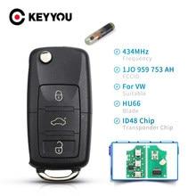 KEYYOU 433 МГц откидная оболочка ключа дистанционного управления для VW Golf Passat Polo Jetta Touran Бора Sharan 1J0959753DA 1J0959753AH 1K0959753G ID48