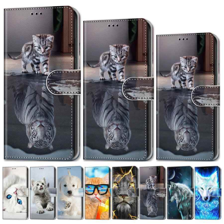 Cat Tiger Kids Cute Flip Case For Huawei Mate 30 Lite P Smart P20 Plus P30 Pro Nova 5i Enjoy7S 10 20 Z Cartoon Cover Wallet D08F