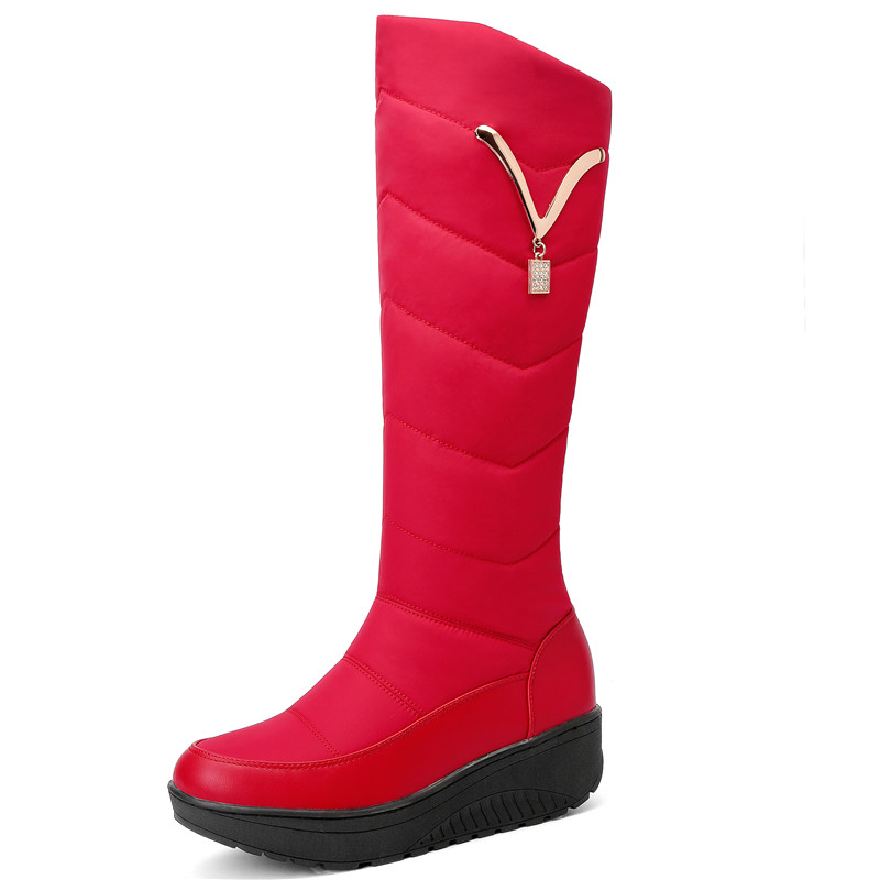 Image 4 - FEDONAS Classic Down Female Big Size Wedges Snow Boots Winter Warm Metal Women Knee High Boots Casual Shoes Woman Long Boots-in Knee-High Boots from Shoes
