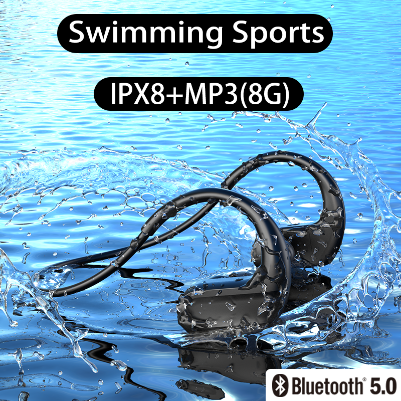 DDJ X12 IPX8 Waterproof Swimming Wireless Bluetooth Headphone MP3 Player Sport Earphone 8G Memory Diving Running for Android Ios