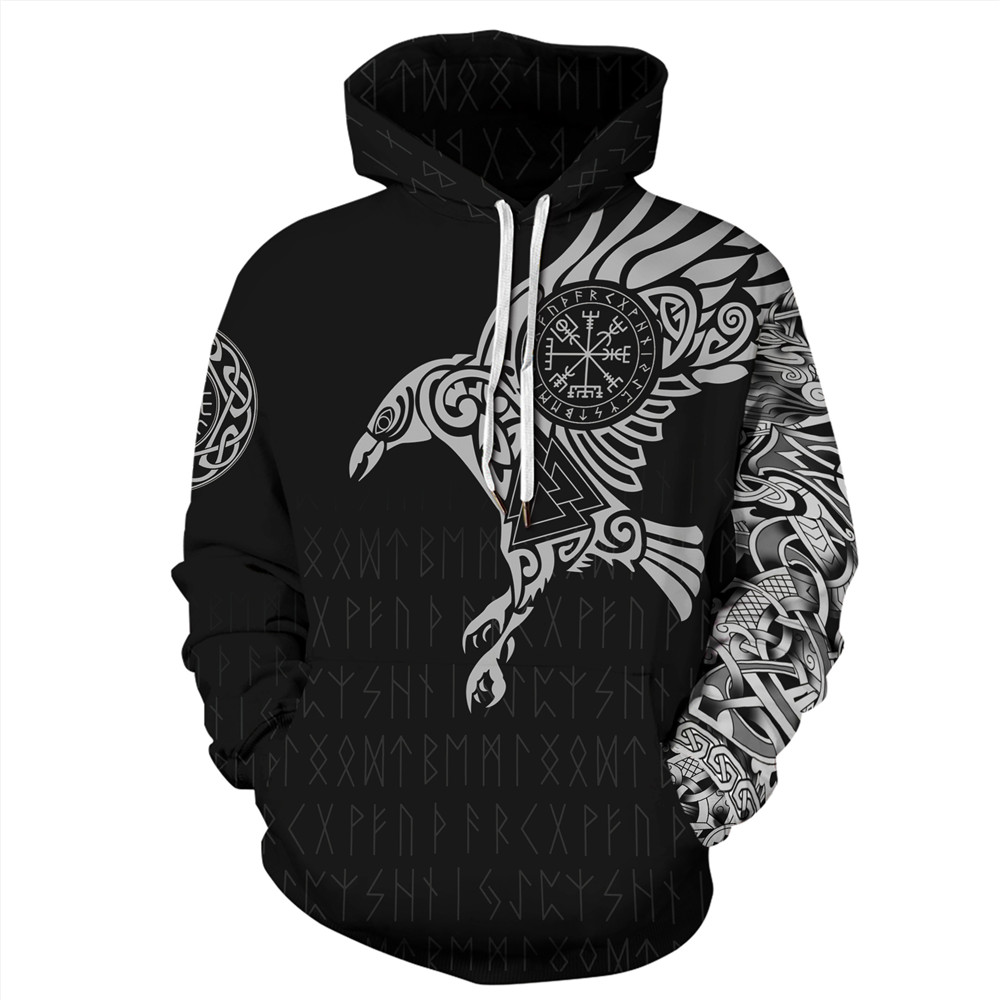 3D Viking Warrior Tattoo Hoody Sweatshirt New Fashion Tracksuit Casual FullPrint Hoodie Sweatshirt Mens Womens Streetwear Tops