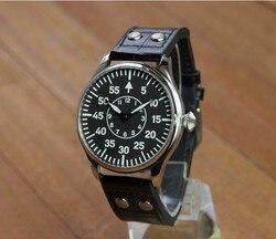 44mm nie logo czarna tarcza dwie ręce azjatyckich 6497 mechaniczne ręcznie nakręcany ruch mężczyzna zegarka świecenia mechaniczne zegarki P171-PP8