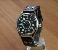 44mm no logo  black dial two hands Asian 6497 Mechanical Hand Wind movement men's watch  luminous Mechanical watches  P171-PP8