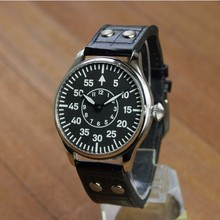 44mm no logo black dial two hands Asian 6497 Mechanical Hand Wind movement men's