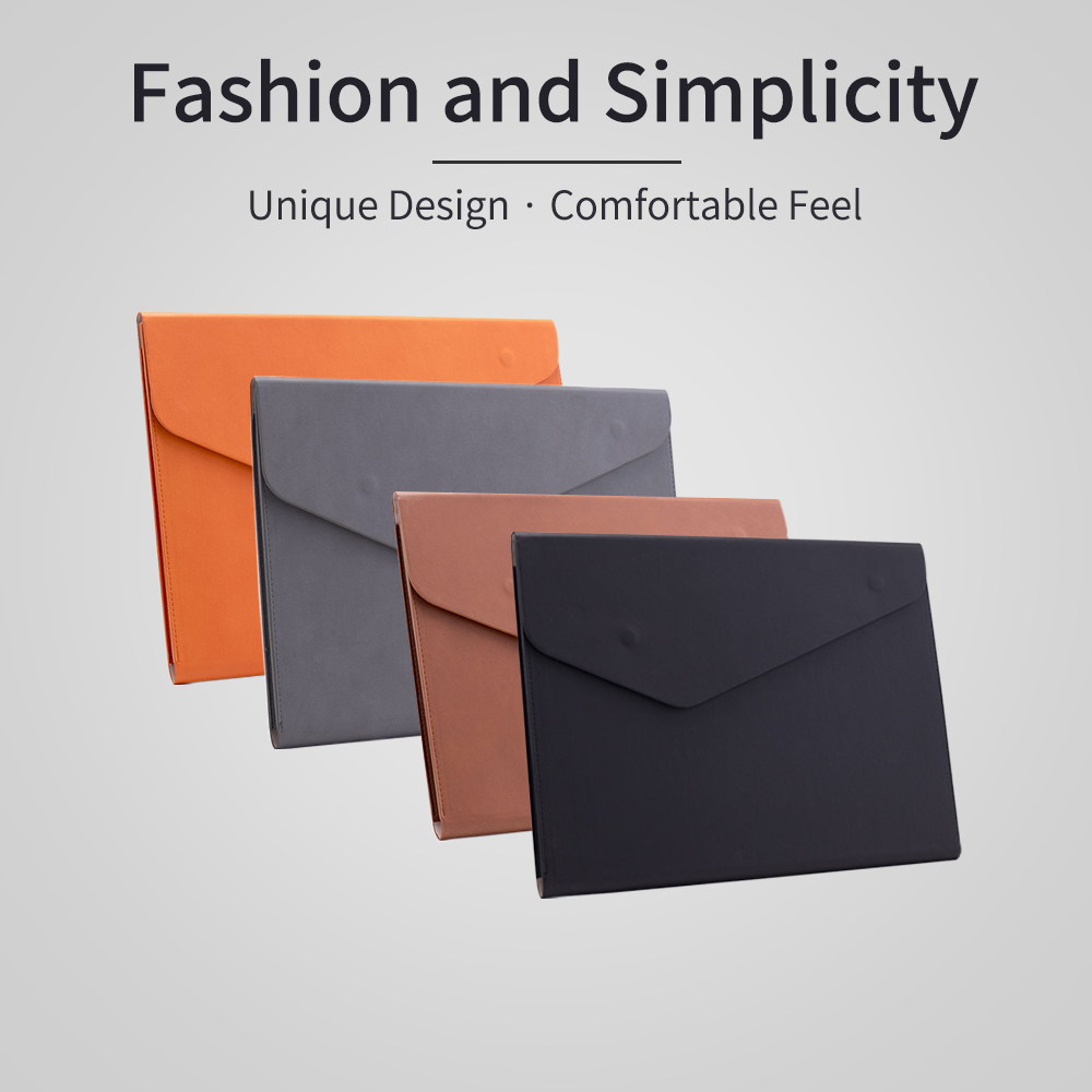 A4 File Bag PU Leather Document Pouch Paper Portfolio Contract Invoice Bill Storage Organizer with Magnetic Buckle for School