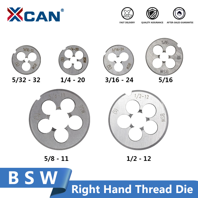 XCAN 1pc BSW Right Hand Thread Die Metalworking Tools 5/32-32 3/16-24 5-16-18 1/4-20 1/2-12 5/8-11