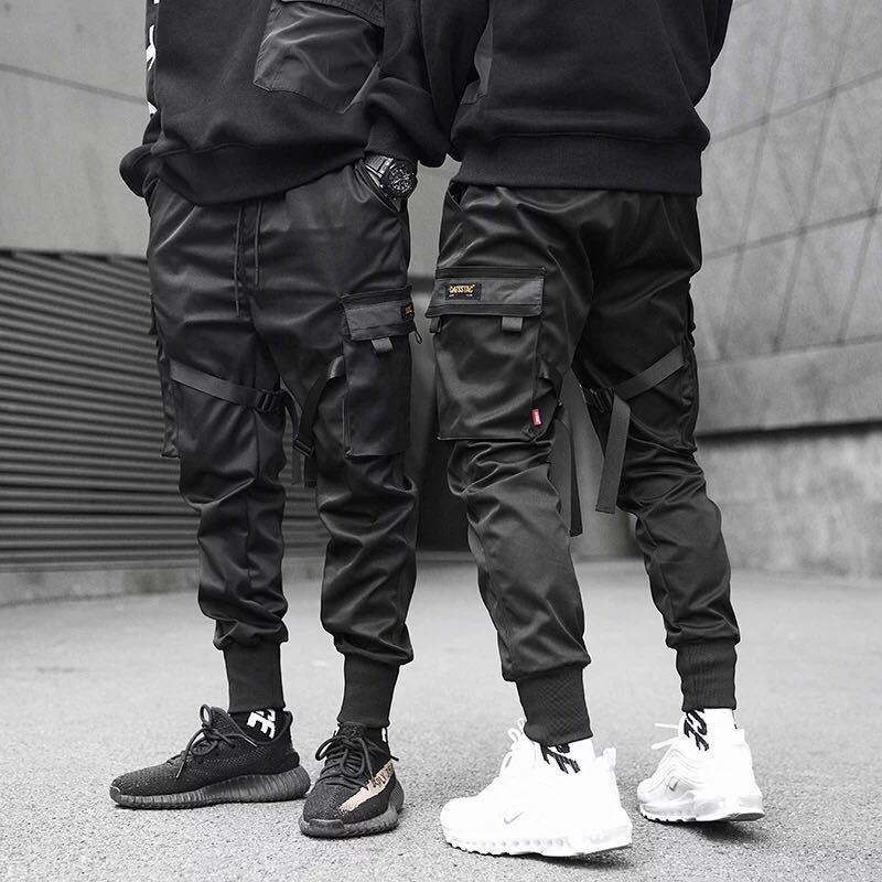 2019 Men's Ribbon Color Block Black Multi-pocket Cargo Pants Harlan Jogger Harajuku Sports Pants Hip-hop Tooling Military Trouse