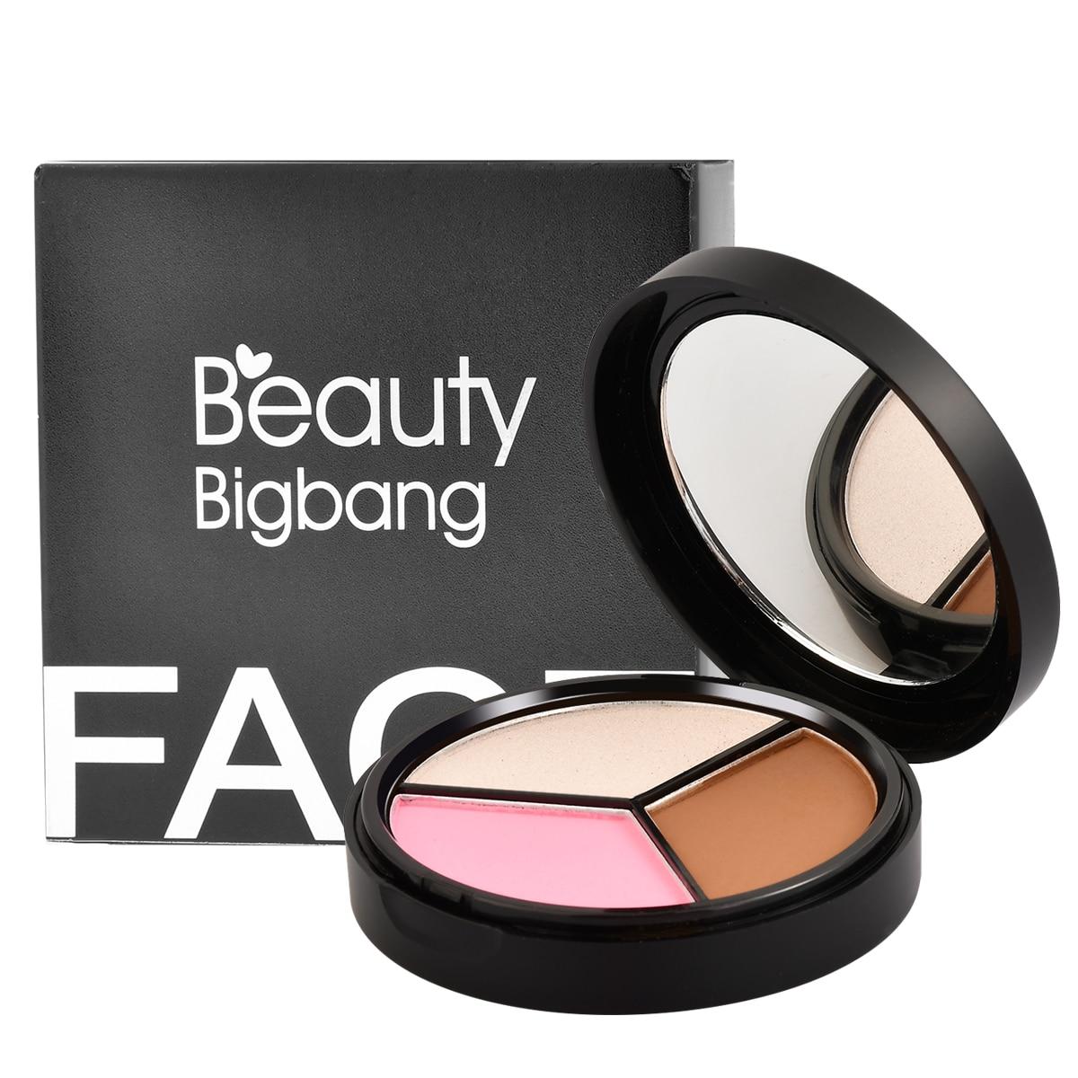 BeautyBigBang 3 Farben Textmarker Iluminador Gesicht Pulver Bronzer Make-Up Rouge Schimmer Bronzer High Palette Kontur