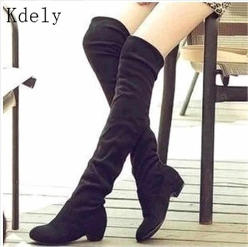 Artı boyutu kadınlar Casual diz botları ayakkabı kış kadın kadın yuvarlak ayak platformu yüksek topuklu pompalar sıcak kar çizmeler Mujer