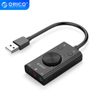 ORICO Cable-Adapter Speaker Laptop Sound-Card Audio-Jack External USB Stereo for PC Free-Drive