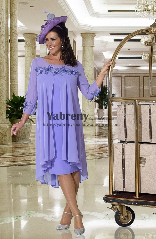 Lavender Plus Size Mother Of The Bride Dress With Sleeves Mid-Calf New Arrival