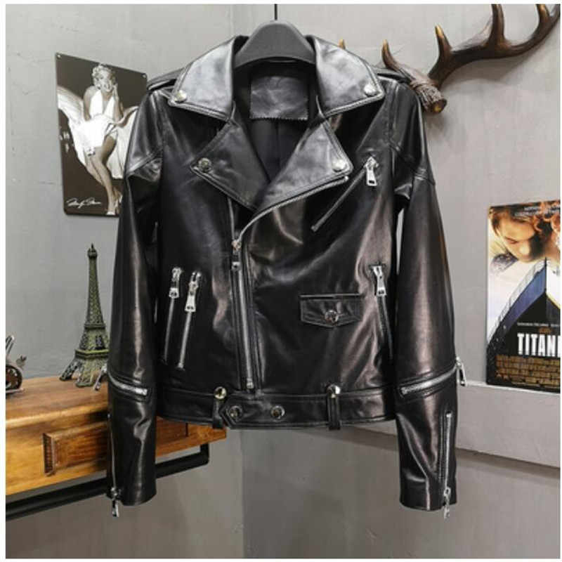 Genuine Leather Jacket Women Natural Real Sheepskin Ladies Coat Autumn Winter Motorcycle Punk Casual Outerwear Female Plus Size