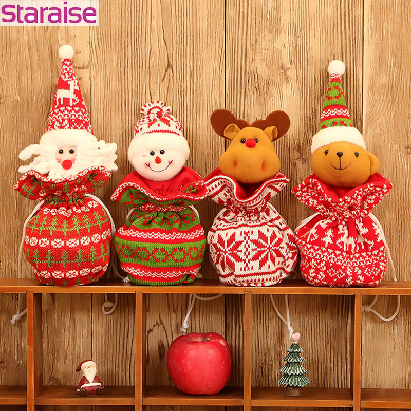 Santa Claus Christmas Dolls Knit Candy Bag Snowman Deer Decorations For Home Gift New Year Party Decor