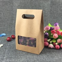 50Pcs Kraft Paper Macaron Box with Pvc Window Kraft Paper Box Biscuit Baking Kraft Paper Gift Box