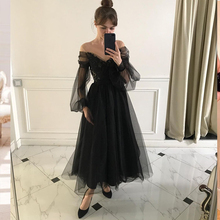 Prom-Dress Party-Gowns Elegant Formal Women Tulle Long-Puff-Sleeve Appliques Lace A-Line