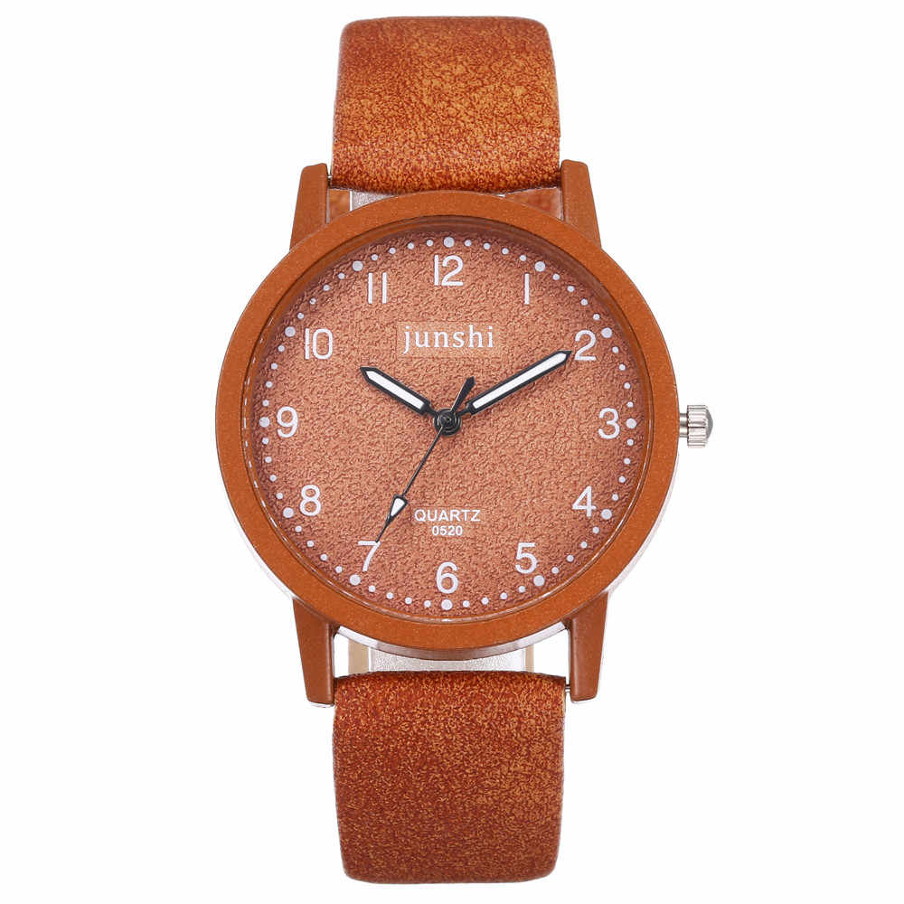 Sederhana Orange Wanita Hidup Round Watch Leather Band Analog QUARTZ Watch Sport Fashion Hadiah Wanita Jam Montre Femme # D