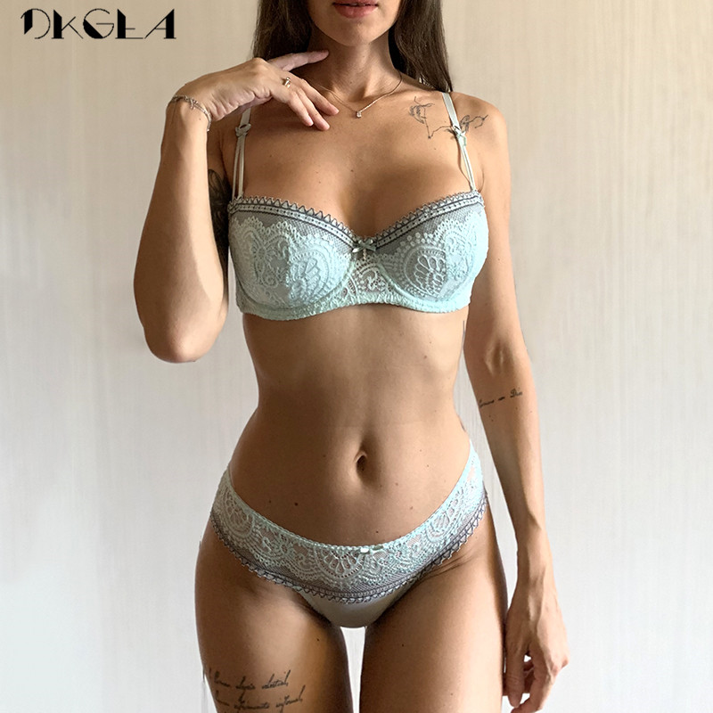 New young Half Cup bra set Plus Size D E cup Plunge thin womens bras Sexy lace underwear sets black cotton embroidery brassiere