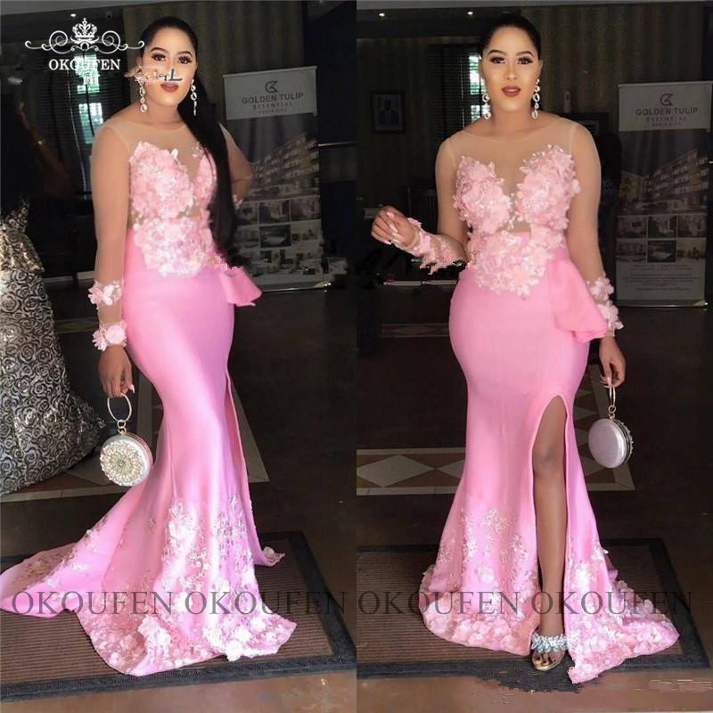 Superbes robes de bal sirène à manches longues transparentes avec Appliques grande taille femmes robe de soirée formelle en Satin rose