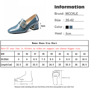 Women's Patent Leather Buckle Pumps Spring Woman Crystal Slip On Square Toe Chunky Heels Female Fashion Ladies Dress Shoes 5