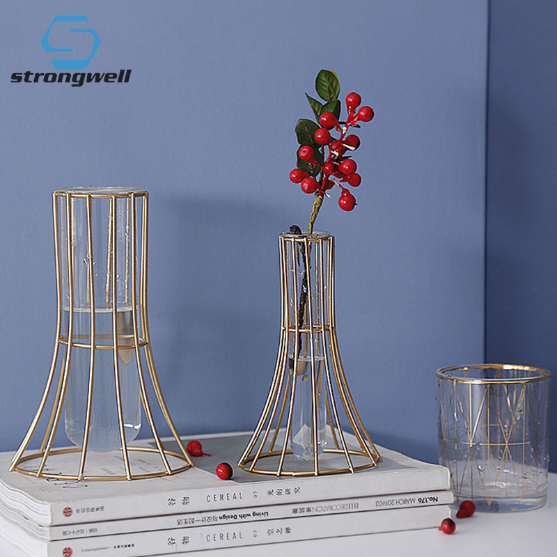 9.79US $ 45% OFF Strongwell Nordic Ins Iron Hydroponic Glass Vase Modern Dining Table Flower Vase Or...