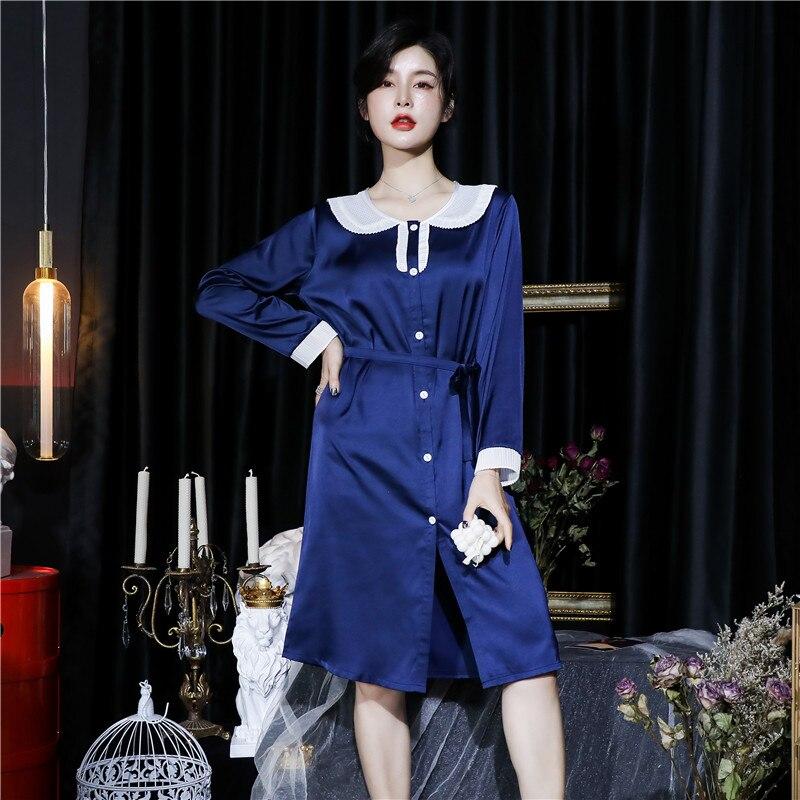 CAIYIER 2020 Silk Nightgown Sexy Lace Sleepwear Long Sleeve Turn-down Collar Night Dress Lingerie Bathrobe Gown Large Size M-3XL 9
