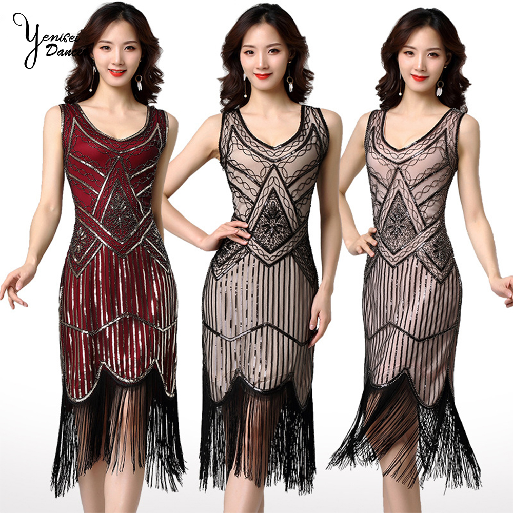 2020 New Stage Sequins <font><b>Dress</b></font> for Women Dancer Concert Women Dance Costume Sleeveless Sexy <font><b>DJ</b></font> Vest <font><b>Dresses</b></font> Red Black Tassel Wear image