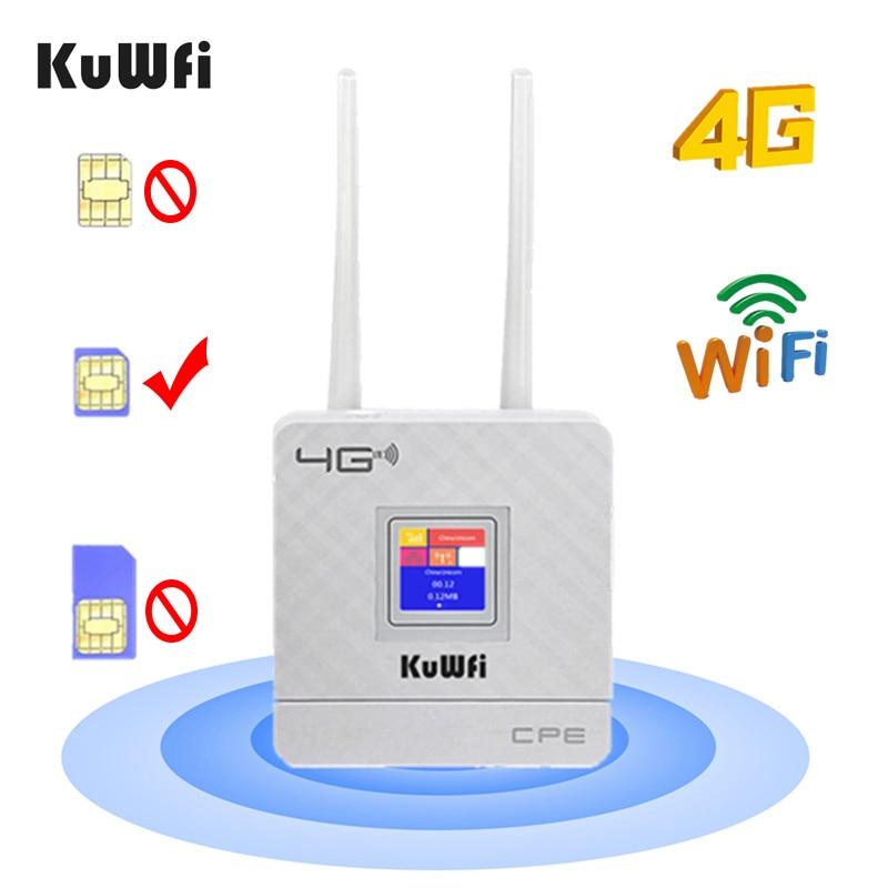 KuWfi 4G SIM-карта Wi-Fi маршрутизатор CAT4 150 Мбит / с Беспроводной маршрутизатор CPE 4G LTE FDD / TDD Разблокировка маршрутизатора с внешними антеннами WAN / LAN...