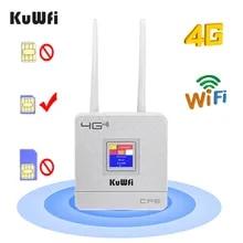 KuWfi 4G Sim 카드 Wifi 라우터 CAT4 150Mbps 무선 CPE 라우터 4G LTE FDD/TDD 외부 안테나가있는 라우터 잠금 해제 WAN/LAN RJ45