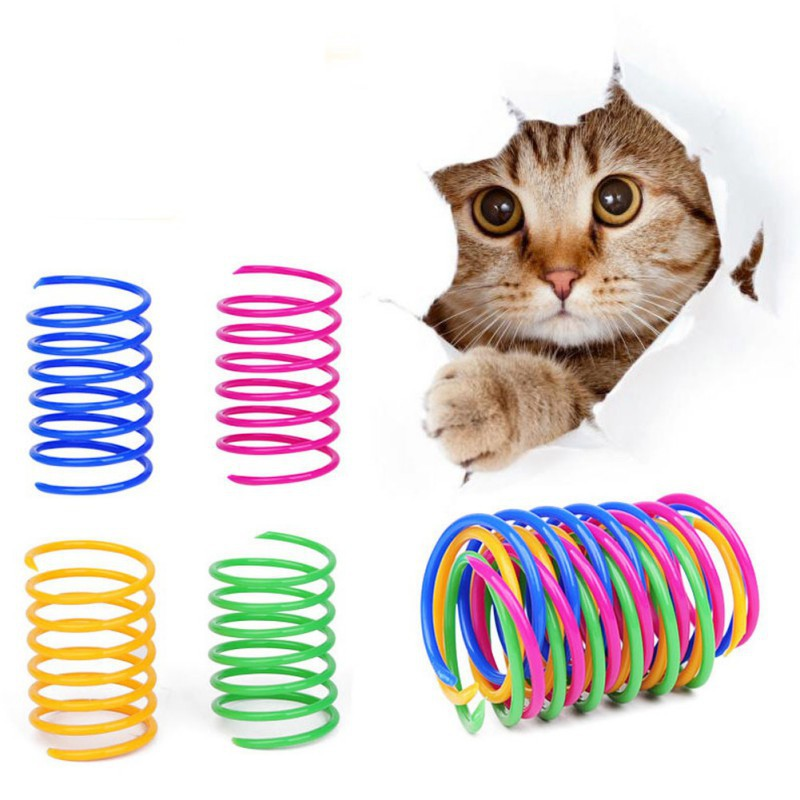 4/10 pcs/Lot Plastic Cat Toys Interactive Pet Spring Toy Kitten Cats Tunnel Teaser Scratch Toy Pet Playing Supplies image