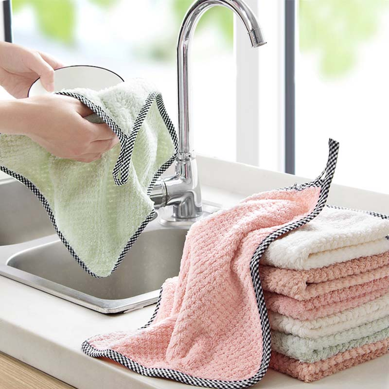 Super Absorbent Microfiber Cleaning Cloth kitchen Dish Cloth Towel Household Scouring Pad Rags Cleaning Towel(China)