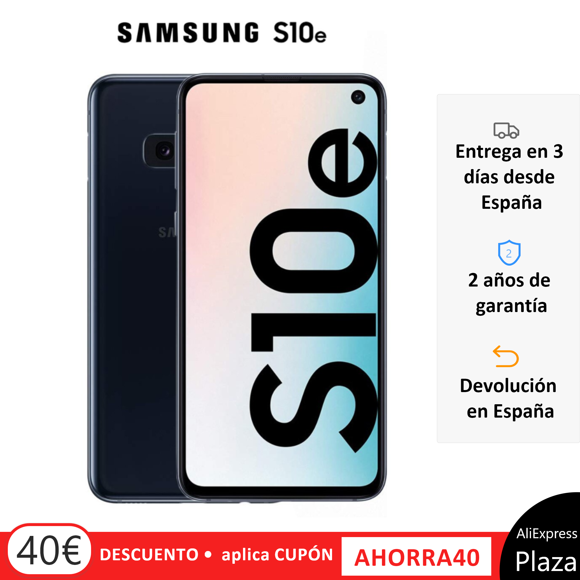 Samsung Galaxy S10e, Black Color (Prism Black), Band LTE/WiFi, Dual SIM, Internal 128 GB De Memoria, Screen 5.8