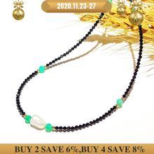 Collier de perles noires baroques, Onyx, or rempli, bijou populaire de clavicule bohème, hawaïen, pour femmes, joli cadeau, 39 44cm
