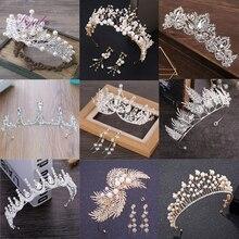 Liyuke модная Роскошная обувь с украшением в виде кристаллов свадебная корона диадемы светильник цвета: золотистый, серебристый диадема, тиара для Для женщин свадебные аксессуары для волос