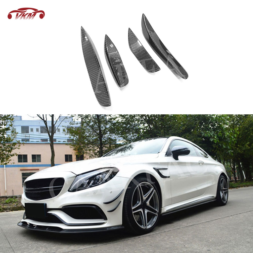 C Class Carbon Fiber Front Bumper Side Spoiler Fins Trims Winglet for Mercedes Benz W205 C63 AMG C205 C300 Sedan Coupe 2015-2017