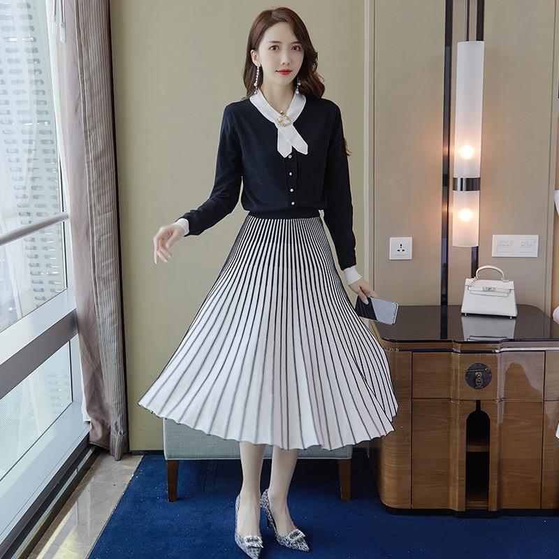 2019 Autumn New Style Korean-style WOMEN'S Wear Fashion Piece Set Slimming Stripes Skirt Knitted Jacket 9474