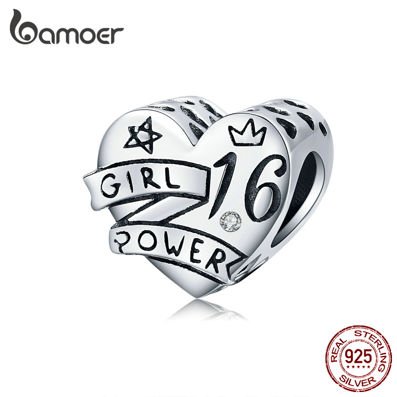 Bamoer Original Desing 925 Sterling Silver 16 Years Old Charm For Bracelet Bangle Birthday Gifts Girl Power Jewelry SCC1437