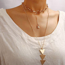 Modyle Multi Arrow Choker Necklace Women Two Layers Necklaces Gold Color Fishbone Plane Necklace Chocker(China)