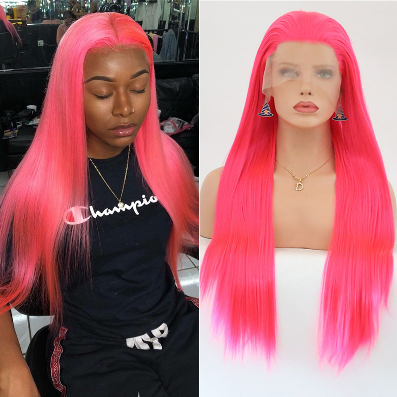 RONGDUOYI Free Part Long Silky Straight Synthetic Lace Front Wigs For Women Bright Pink High Temperature Fiber Hair Lace Wig