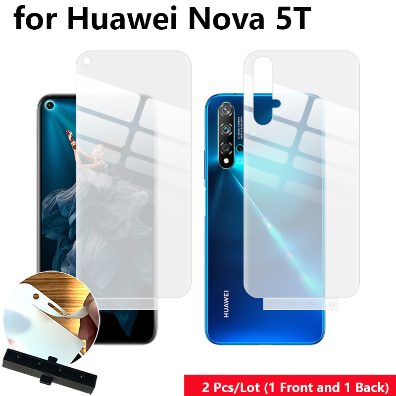 2 Pcs Front & Back Smart Guide Tool Soft Film AUTO Fixed Hydrogel Film Full Body Screen Protector For Huawei Nova 5T/Honor 20