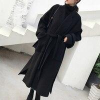 Liva girl Long Coat Winter Coat Women Belted Solid Coat Women's Jacket Women's 5 Colors Coat wool Coat