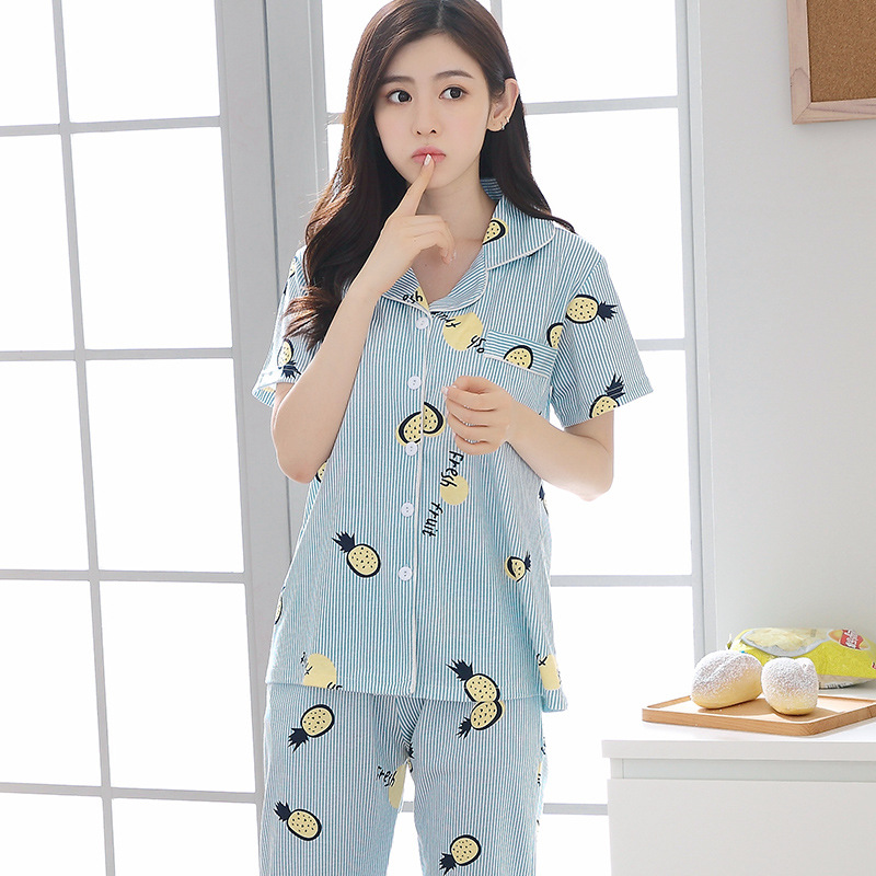 Women's Sleepwear WOMEN'S Summer Short Sleeved Pants Cotton Fold-down Collar Thin Loose Casual Outerwear Cotton Tracksuit Set