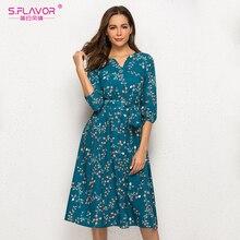 Женское платье с V-образным вырезом S.FLAVOR, элегантное повседневное, праздничное платье-трапеция до середины икры с рукавом 3/