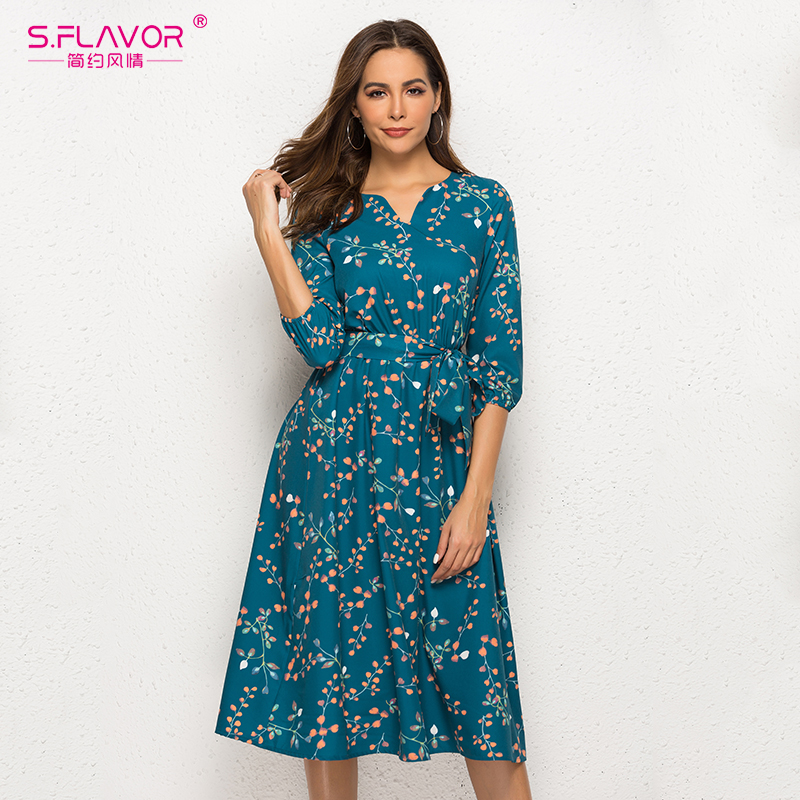 S.FLAVOR Autumn Winter Casual Dress Women V Neck 3/4 Sleeve A Line Mid Calf Print Dress Female Elegant Waist Party Vestidos-in Dresses from Women's Clothing