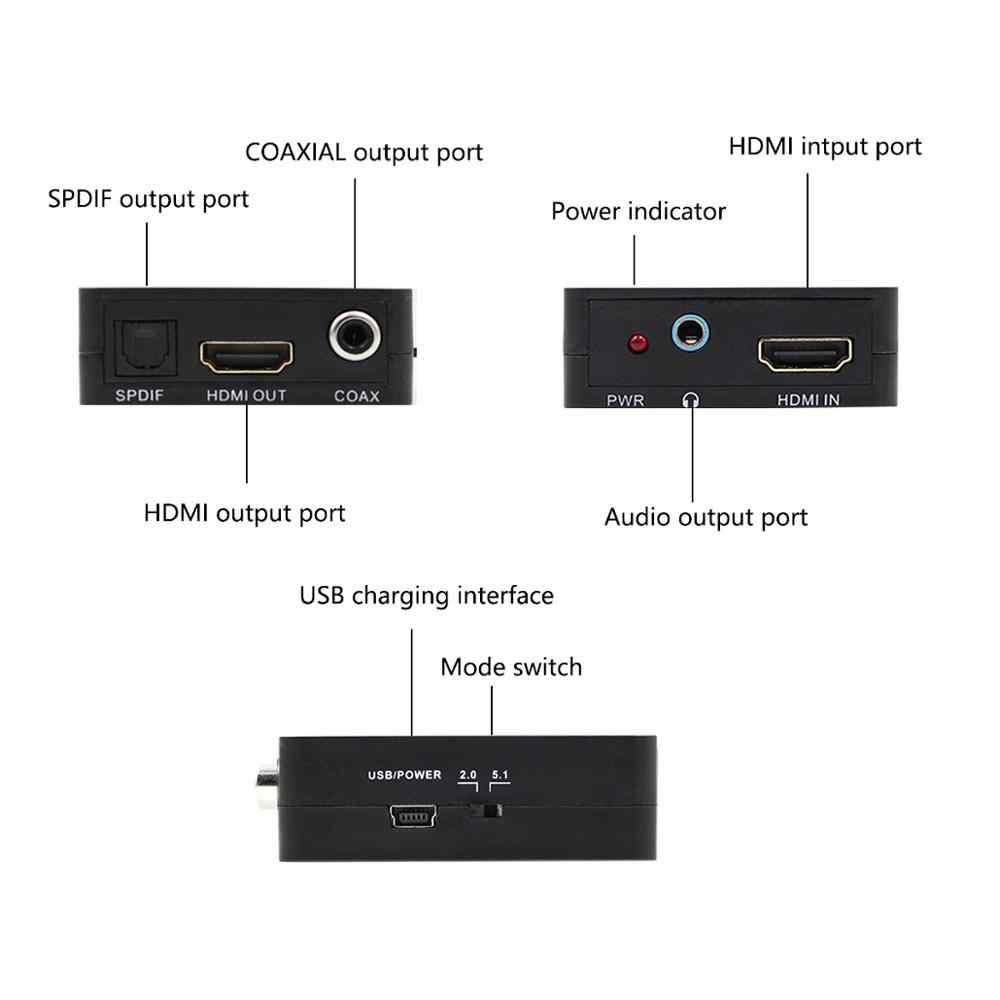 HDMI do ekstraktor dźwięku HDMI Splitter optyczny SPDIF 3.5mm gniazdo słuchawkowe 5.1 RCA L/R adapter konwertera audio-wideo