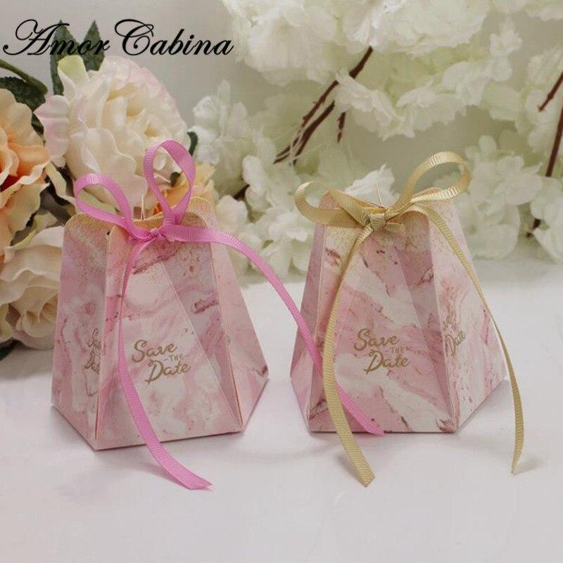 50pcs marbre style petit frais rêveur étoile à cinq branches bébé douche boîte à bonbons mariage et boîte-cadeau décoration de fête d'anniversaire
