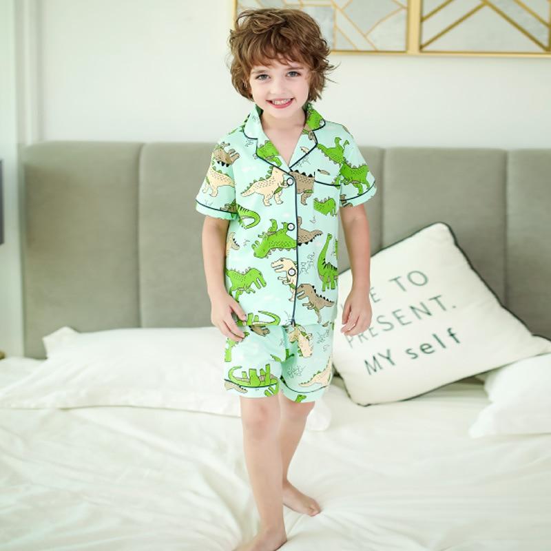 SAILEROAD New Summer Boys Dinosaur Pajamas Girl Set Cartoon Animals Printed Pyjama Cotton Kids Pijama Children Sleepwear Clothes